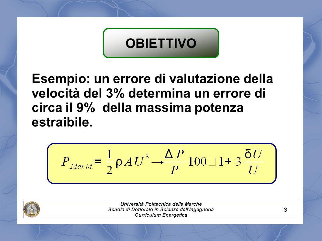 Esempio: un errore di valutazione della velocità del 3% determina un errore di circa il 9% della massima potenza estraibile. Università Politecnica de