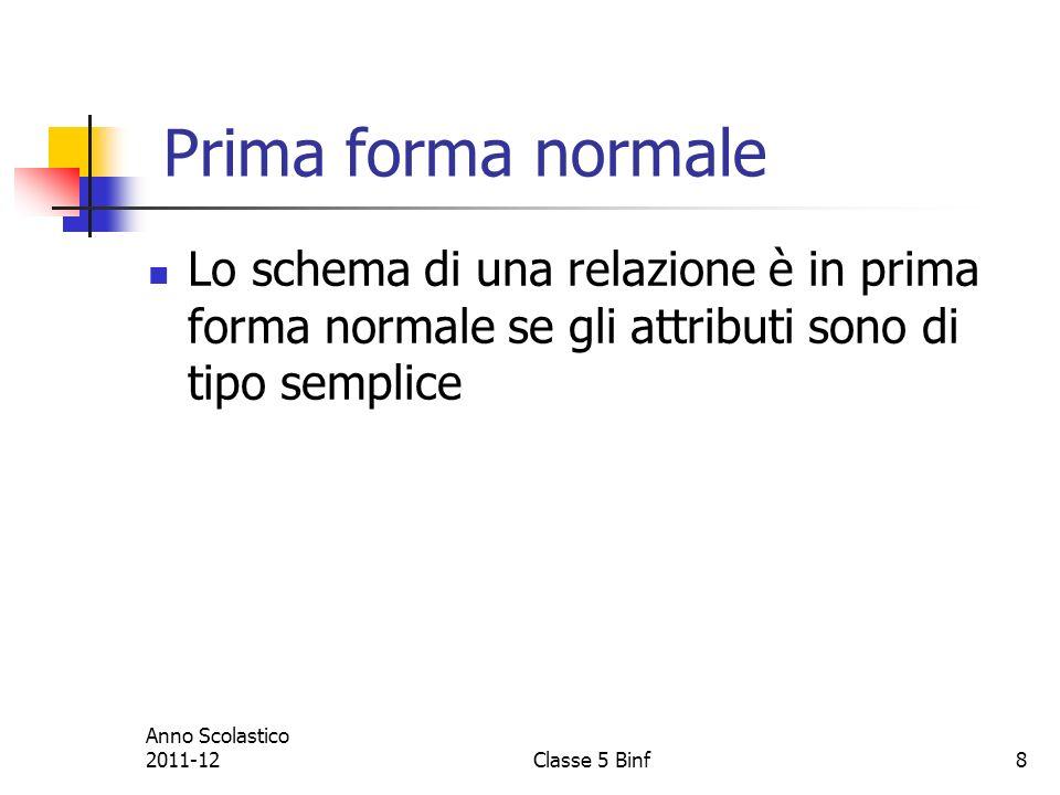 8 Prima forma normale Lo schema di una relazione è in prima forma normale se gli attributi sono di tipo semplice Anno Scolastico 2011-12Classe 5 Binf