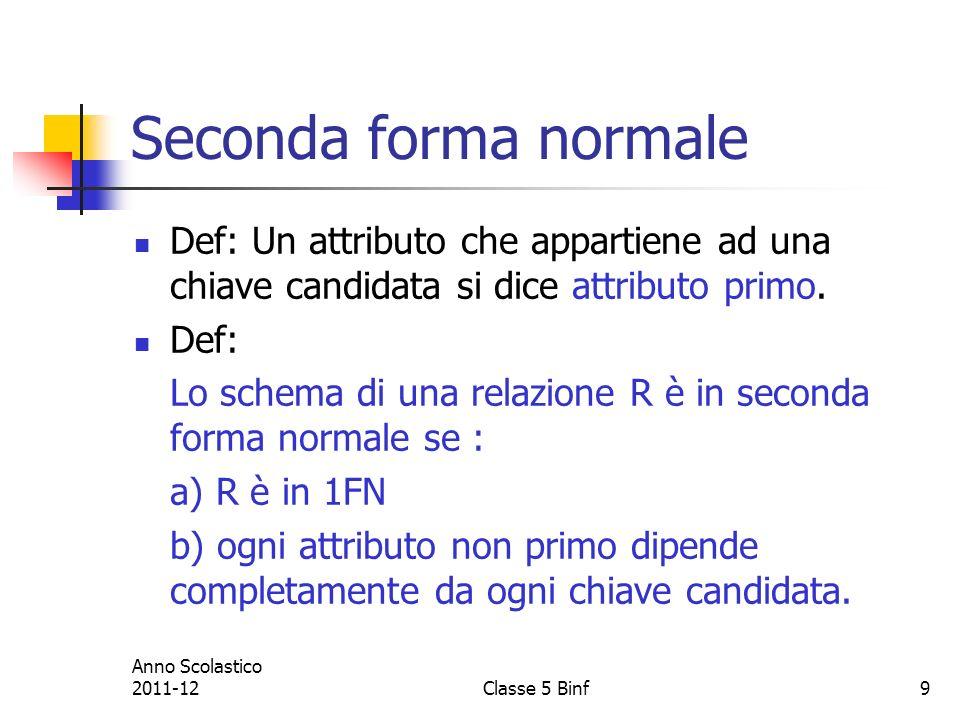 9 Seconda forma normale Def: Un attributo che appartiene ad una chiave candidata si dice attributo primo.