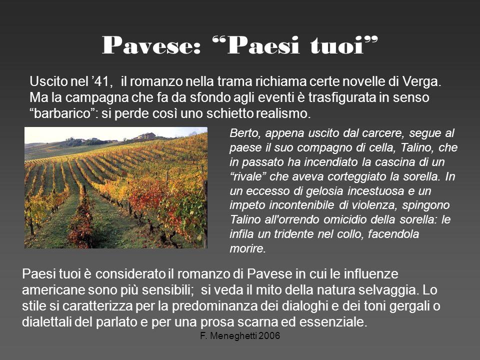 F. Meneghetti 2006 Pavese: Paesi tuoi Paesi tuoi è considerato il romanzo di Pavese in cui le influenze americane sono più sensibili; si veda il mito