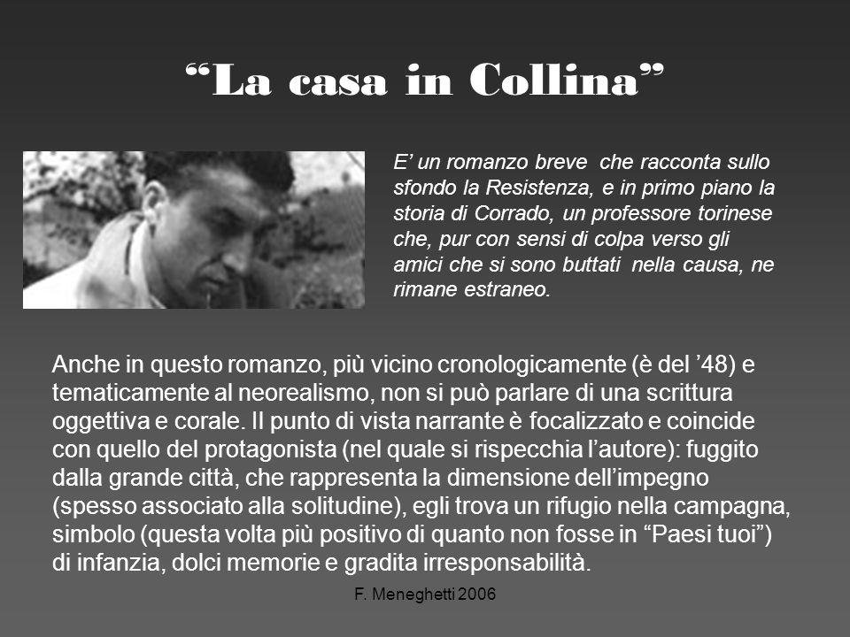 F. Meneghetti 2006 La casa in Collina E un romanzo breve che racconta sullo sfondo la Resistenza, e in primo piano la storia di Corrado, un professore