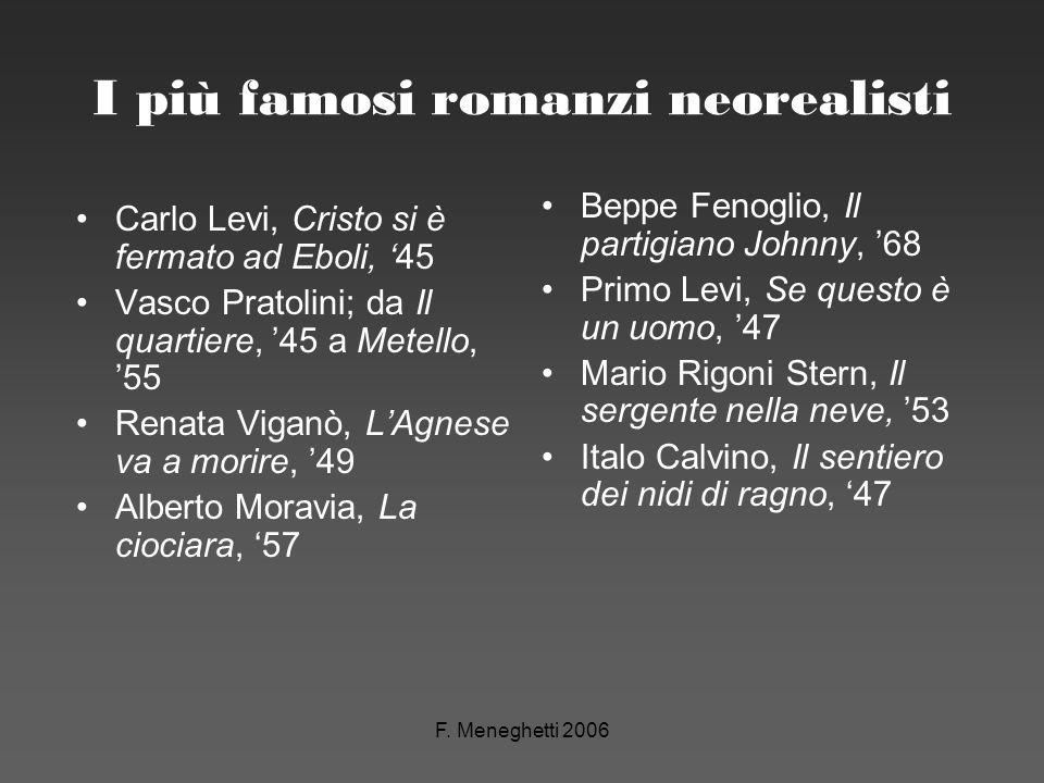F. Meneghetti 2006 I più famosi romanzi neorealisti Carlo Levi, Cristo si è fermato ad Eboli, 45 Vasco Pratolini; da Il quartiere, 45 a Metello, 55 Re