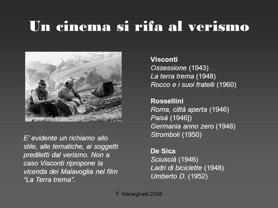 F. Meneghetti 2006 Un cinema si rifa al verismo Visconti Ossessione (1943) La terra trema (1948) Rocco e i suoi fratelli (1960) Rossellini Roma, città