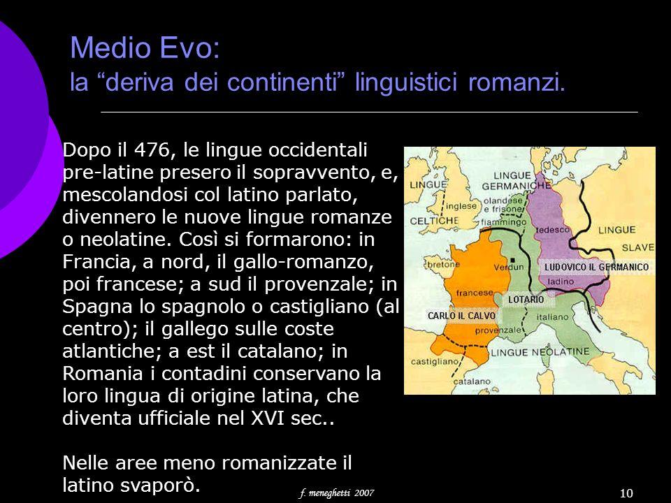 f. meneghetti 2007 10 Medio Evo: la deriva dei continenti linguistici romanzi. Dopo il 476, le lingue occidentali pre-latine presero il sopravvento, e