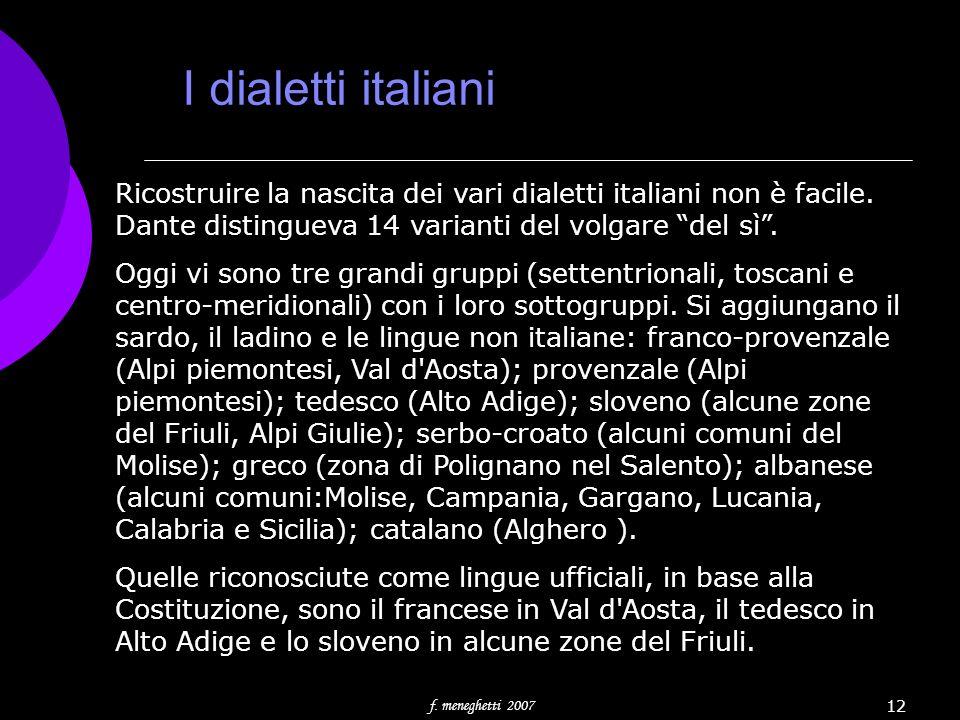f. meneghetti 2007 12 I dialetti italiani Ricostruire la nascita dei vari dialetti italiani non è facile. Dante distingueva 14 varianti del volgare de