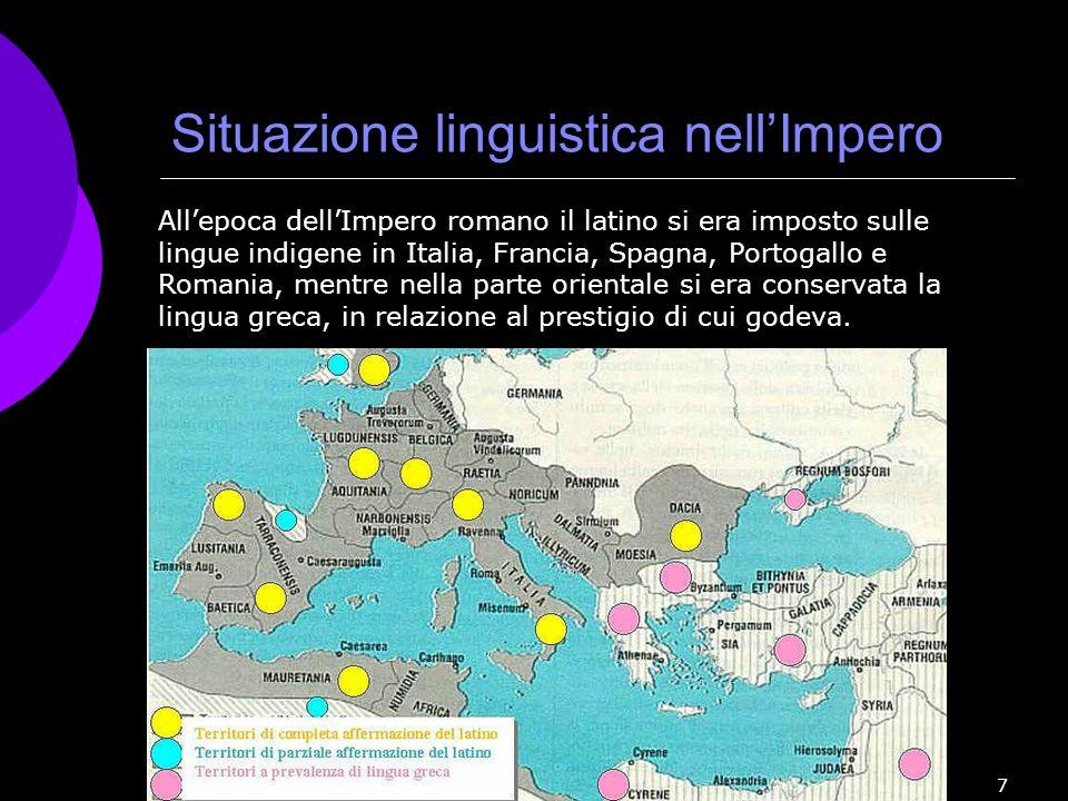 f. meneghetti 2007 7 Situazione linguistica nellImpero Allepoca dellImpero romano il latino si era imposto sulle lingue indigene in Italia, Francia, S