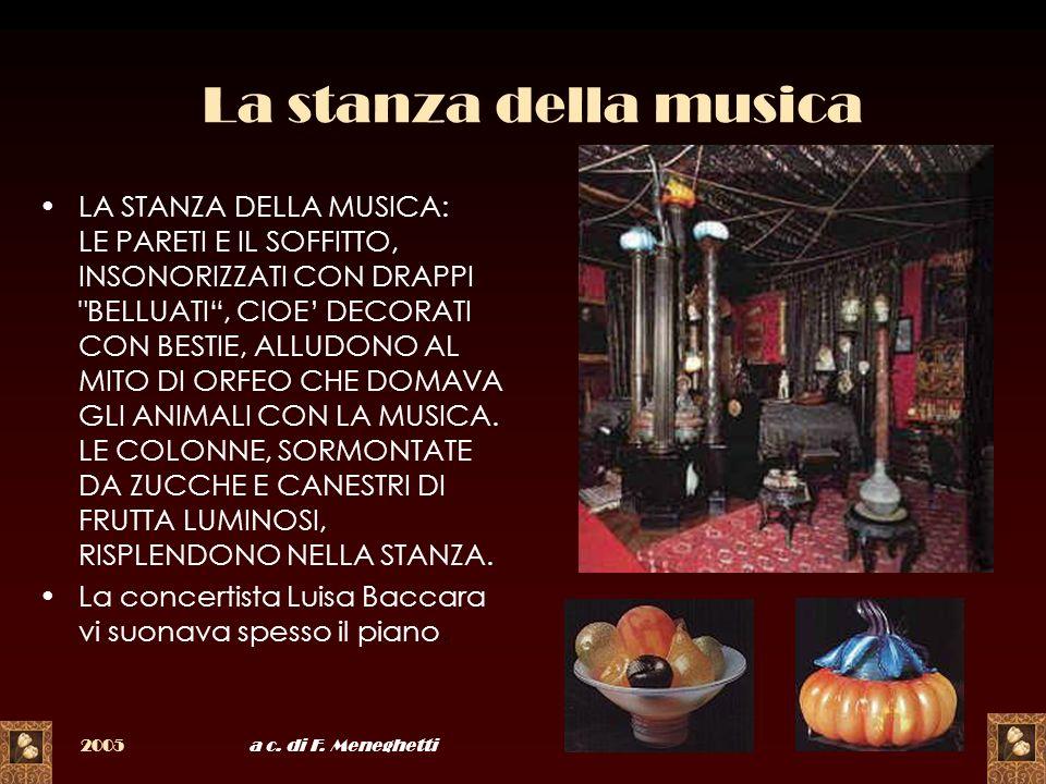 2005a c. di F. Meneghetti14 La stanza della musica LA STANZA DELLA MUSICA: LE PARETI E IL SOFFITTO, INSONORIZZATI CON DRAPPI