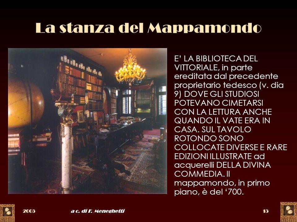 2005a c. di F. Meneghetti15 La stanza del Mappamondo E LA BIBLIOTECA DEL VITTORIALE, in parte ereditata dal precedente proprietario tedesco (v. dia 9)