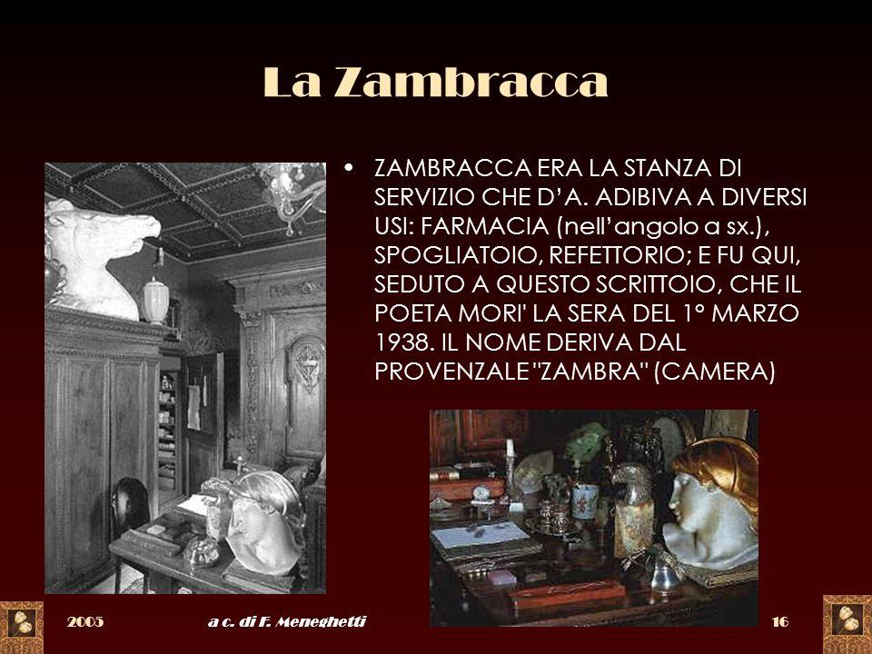 2005a c. di F. Meneghetti16 La Zambracca ZAMBRACCA ERA LA STANZA DI SERVIZIO CHE DA. ADIBIVA A DIVERSI USI: FARMACIA (nellangolo a sx.), SPOGLIATOIO,