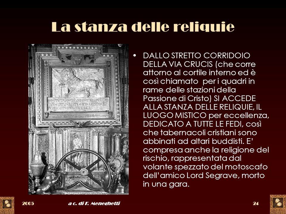 2005a c. di F. Meneghetti24 La stanza delle reliquie DALLO STRETTO CORRIDOIO DELLA VIA CRUCIS (che corre attorno al cortile interno ed è così chiamato