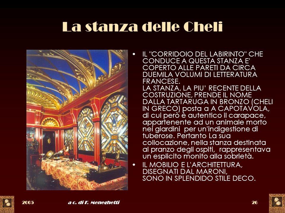 2005a c. di F. Meneghetti26 La stanza delle Cheli IL