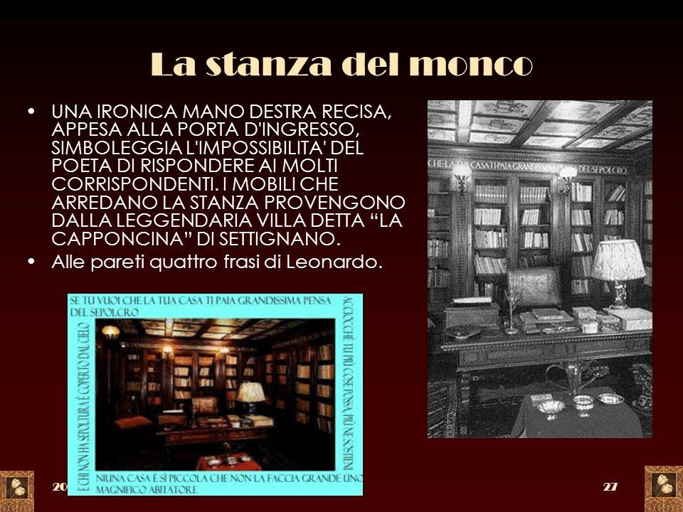 2005a c. di F. Meneghetti27 La stanza del monco UNA IRONICA MANO DESTRA RECISA, APPESA ALLA PORTA D'INGRESSO, SIMBOLEGGIA L'IMPOSSIBILITA' DEL POETA D