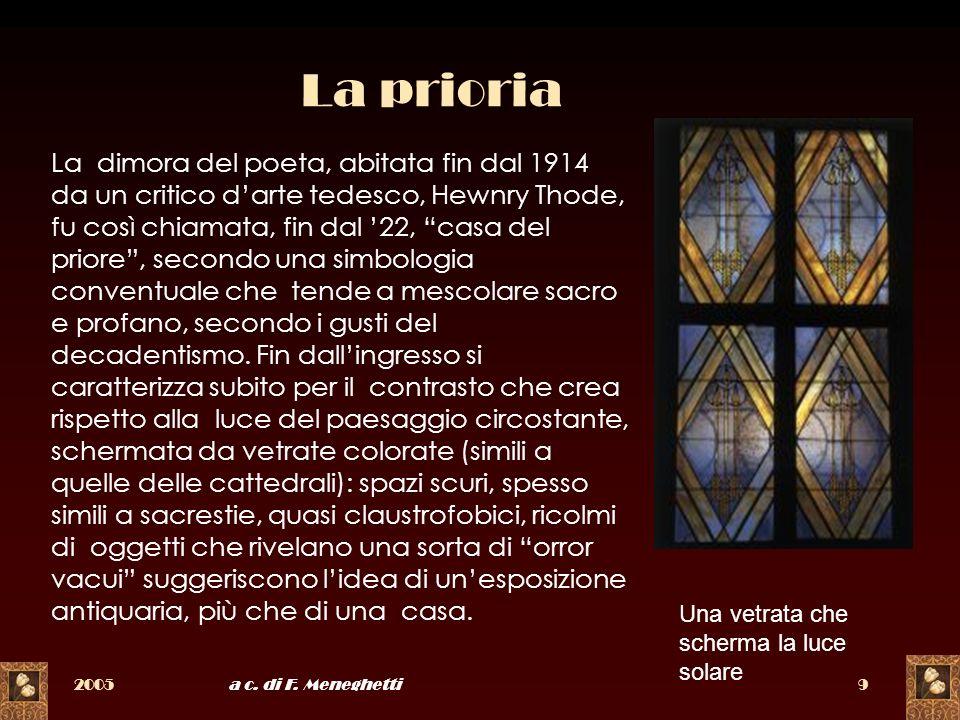 2005a c. di F. Meneghetti9 La prioria La dimora del poeta, abitata fin dal 1914 da un critico darte tedesco, Hewnry Thode, fu così chiamata, fin dal 2