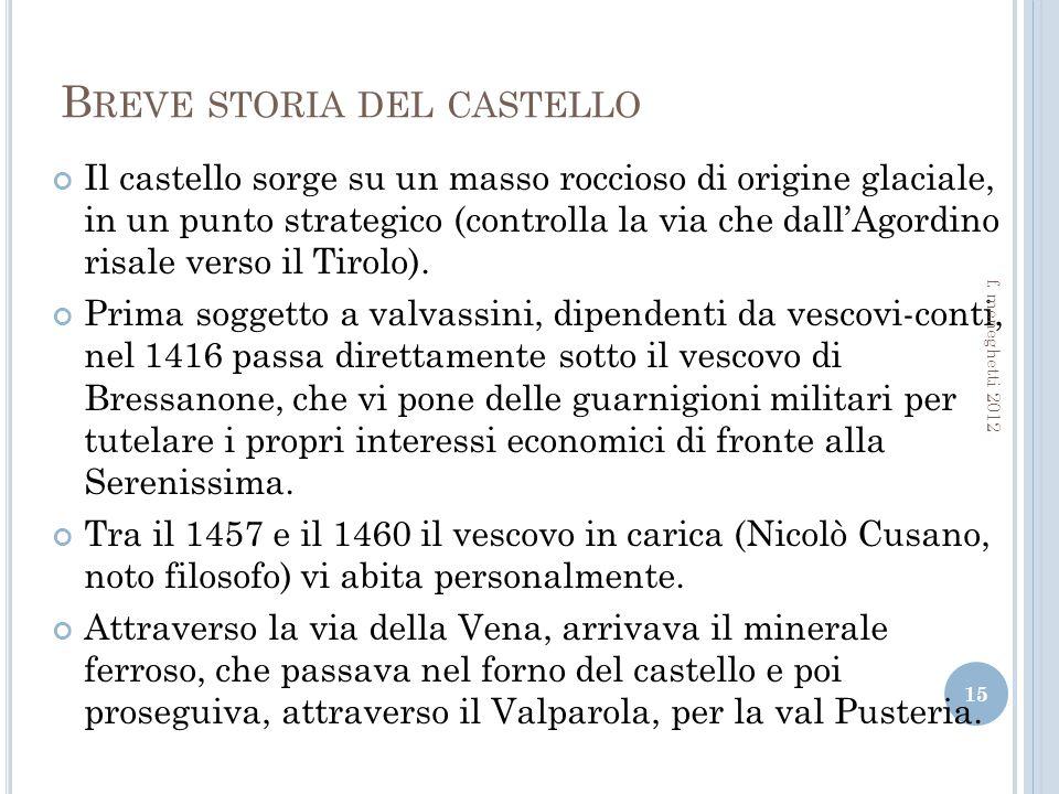 B REVE STORIA DEL CASTELLO Il castello sorge su un masso roccioso di origine glaciale, in un punto strategico (controlla la via che dallAgordino risale verso il Tirolo).