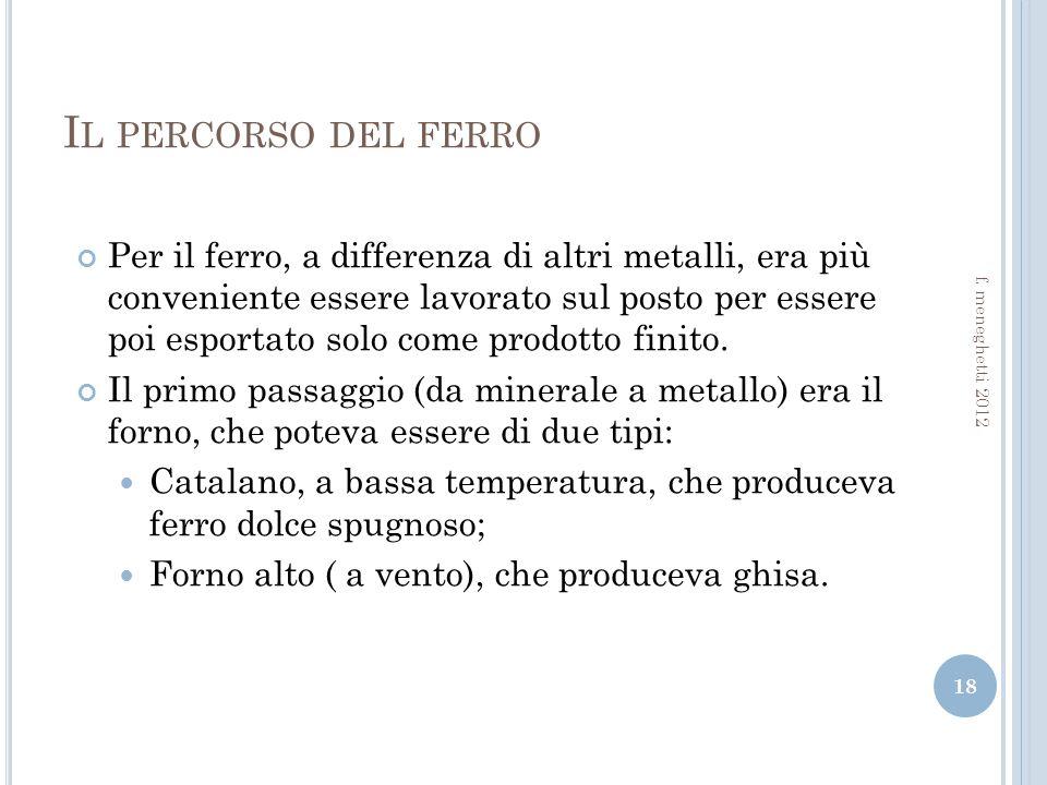 I L PERCORSO DEL FERRO Per il ferro, a differenza di altri metalli, era più conveniente essere lavorato sul posto per essere poi esportato solo come prodotto finito.