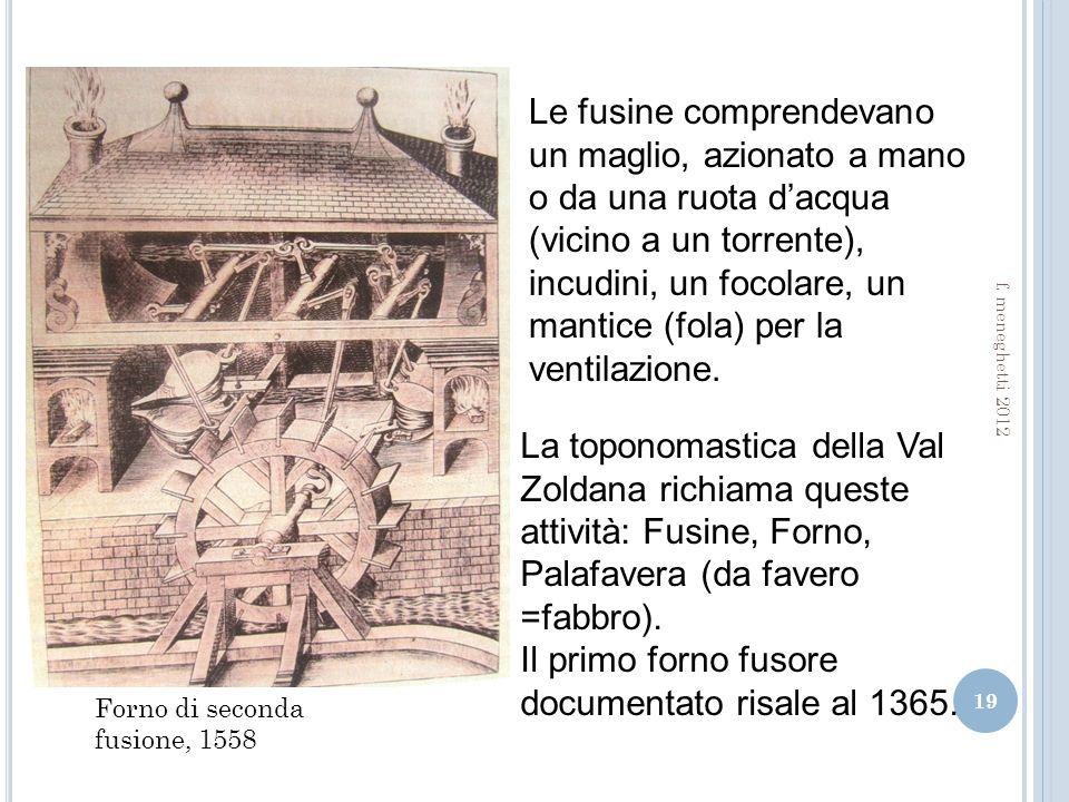 19 Forno di seconda fusione, 1558 Le fusine comprendevano un maglio, azionato a mano o da una ruota dacqua (vicino a un torrente), incudini, un focolare, un mantice (fola) per la ventilazione.
