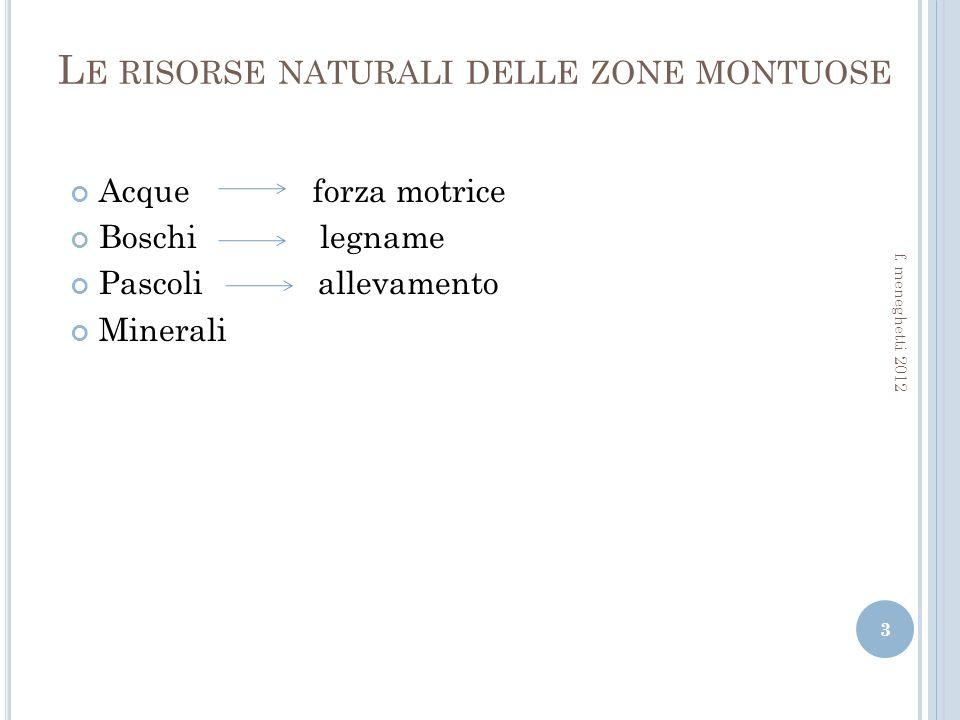 L E RISORSE NATURALI DELLE ZONE MONTUOSE Acque forza motrice Boschi legname Pascoli allevamento Minerali 3 f.