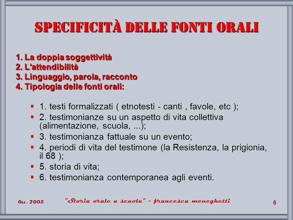 0tt.2005 Storia orale a scuola - francesca meneghetti 37 Storia n.