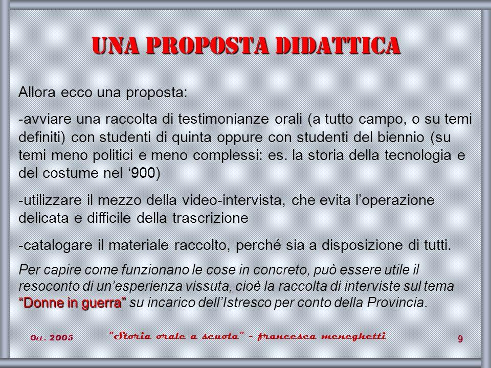 0tt. 2005 Storia orale a scuola - francesca meneghetti 30 Fine E buon proseguimento del lavoro!