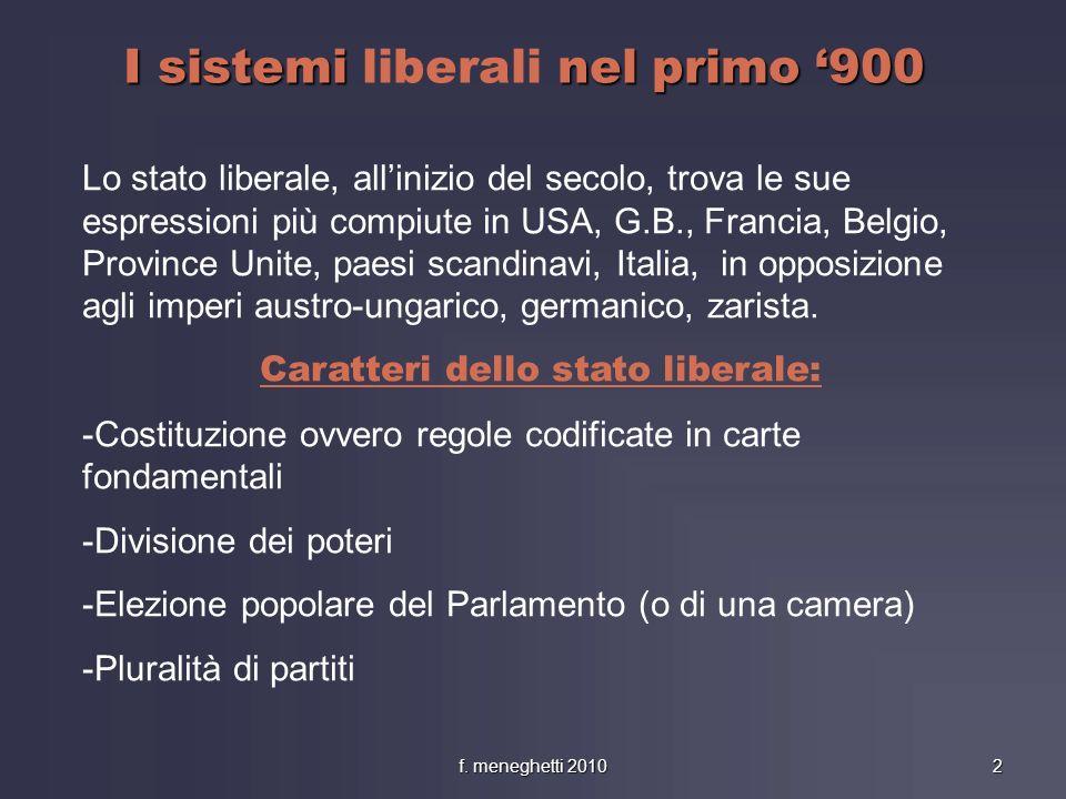 I sistemi nel primo 900 I sistemi liberali nel primo 900 Lo stato liberale, allinizio del secolo, trova le sue espressioni più compiute in USA, G.B.,