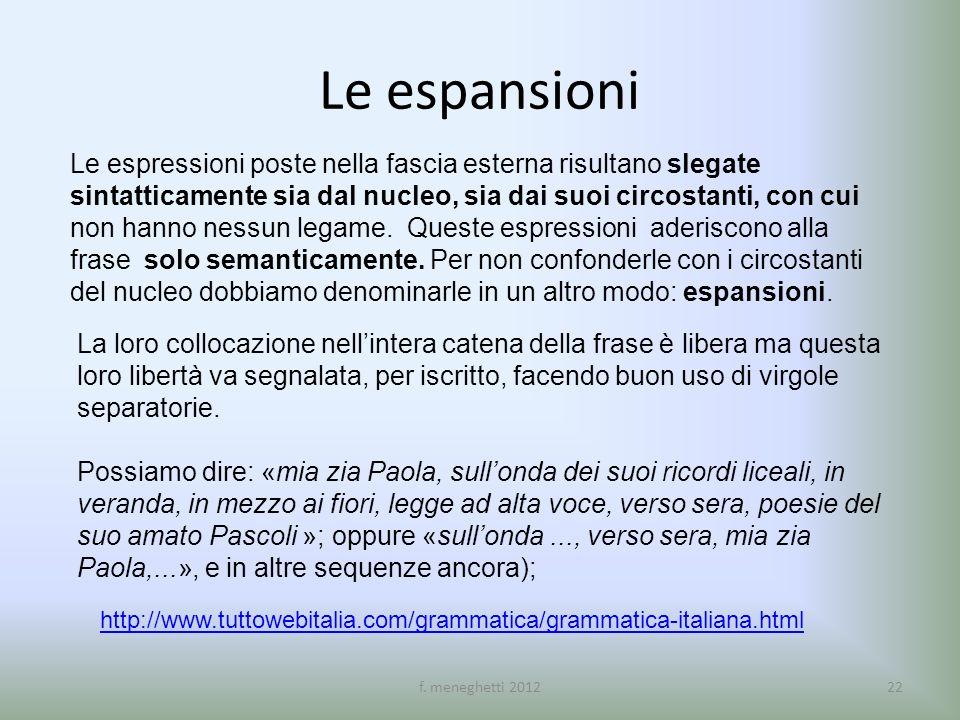 Le espansioni Le espressioni poste nella fascia esterna risultano slegate sintatticamente sia dal nucleo, sia dai suoi circostanti, con cui non hanno