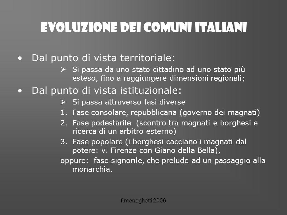 Evoluzione dei comuni italiani Dal punto di vista territoriale: Si passa da uno stato cittadino ad uno stato più esteso, fino a raggiungere dimensioni