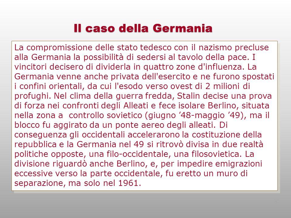 Il caso della Germania La compromissione delle stato tedesco con il nazismo precluse alla Germania la possibilità di sedersi al tavolo della pace. I v