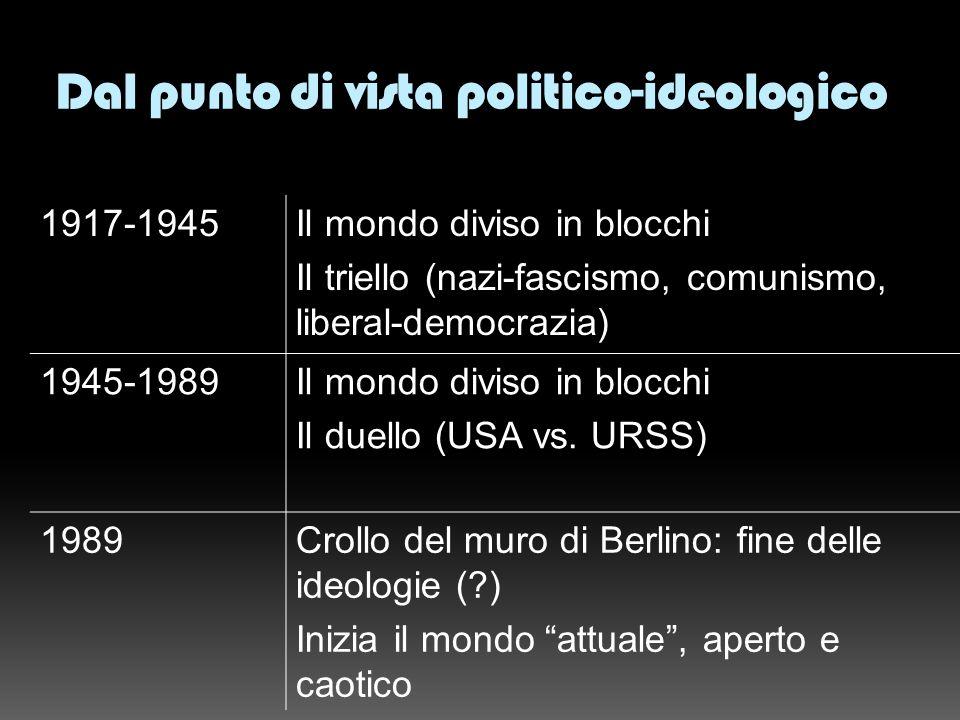 Dal punto di vista politico-ideologico 1917-1945Il mondo diviso in blocchi Il triello (nazi-fascismo, comunismo, liberal-democrazia) 1945-1989Il mondo