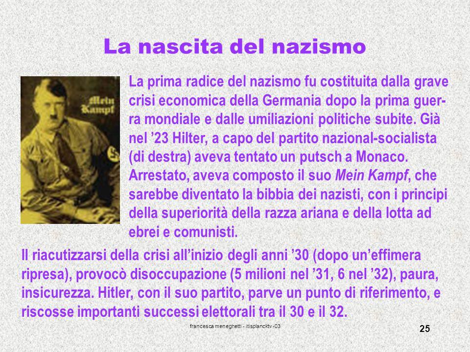 francesca meneghetti - itisplancktv -03 25 La nascita del nazismo La prima radice del nazismo fu costituita dalla grave crisi economica della Germania