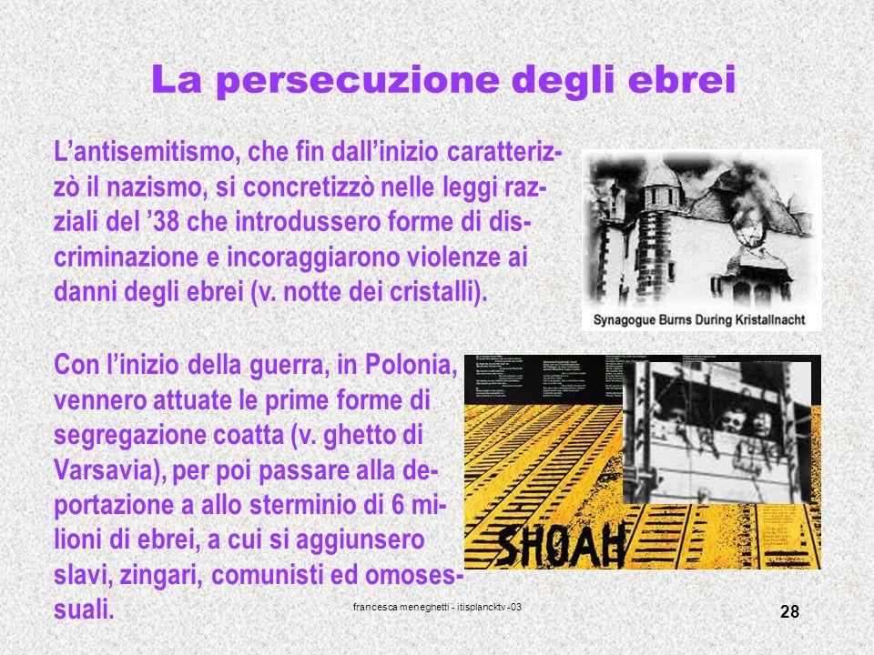 francesca meneghetti - itisplancktv -03 28 La persecuzione degli ebrei Lantisemitismo, che fin dallinizio caratteriz- zò il nazismo, si concretizzò ne