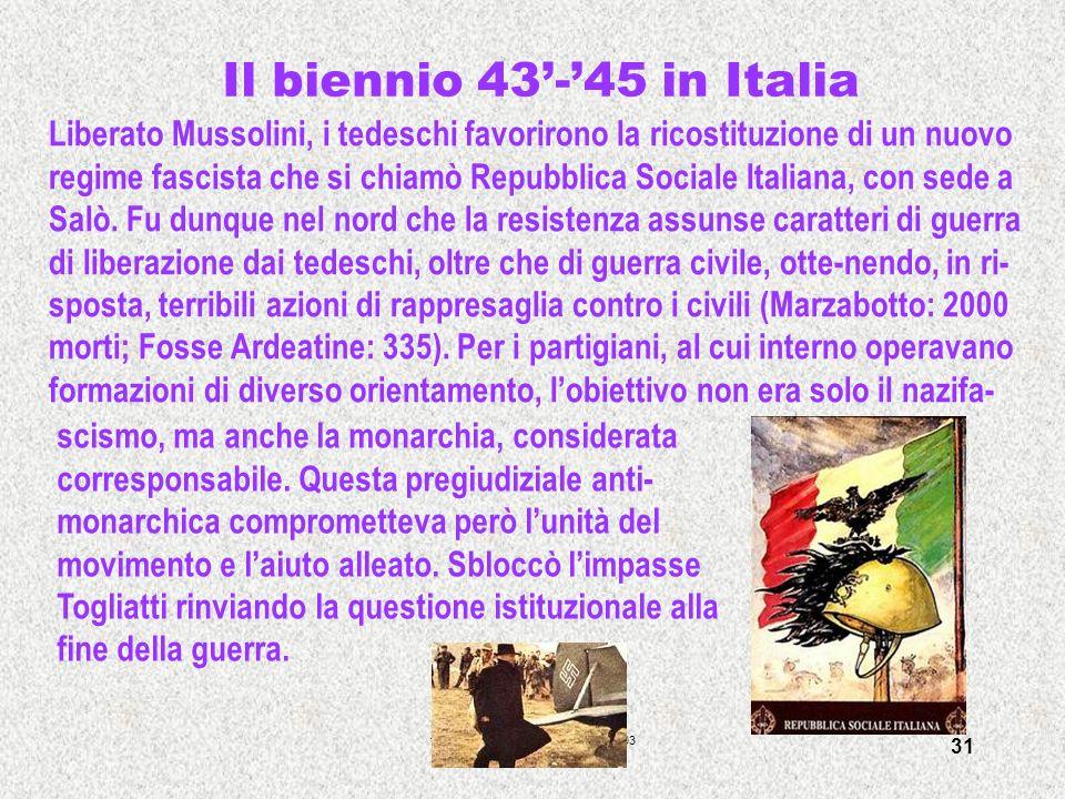 francesca meneghetti - itisplancktv -03 31 Il biennio 43-45 in Italia Liberato Mussolini, i tedeschi favorirono la ricostituzione di un nuovo regime f