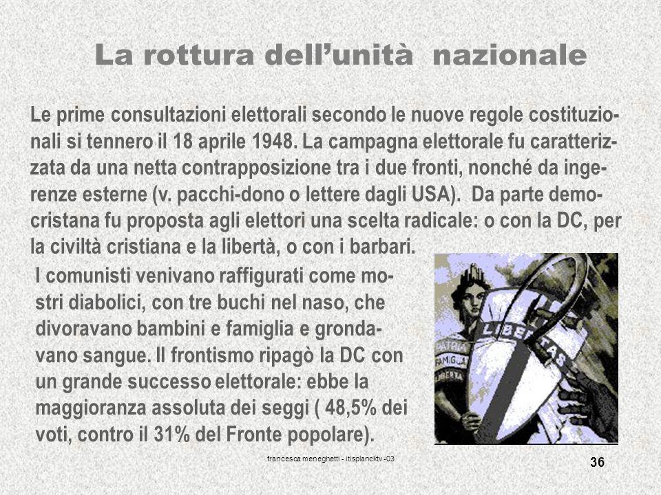 francesca meneghetti - itisplancktv -03 36 La rottura dellunità nazionale Le prime consultazioni elettorali secondo le nuove regole costituzio- nali s