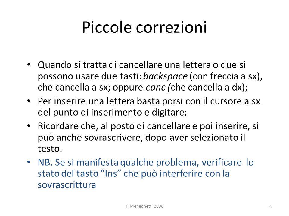F. Meneghetti 20084 Piccole correzioni Quando si tratta di cancellare una lettera o due si possono usare due tasti: backspace (con freccia a sx), che