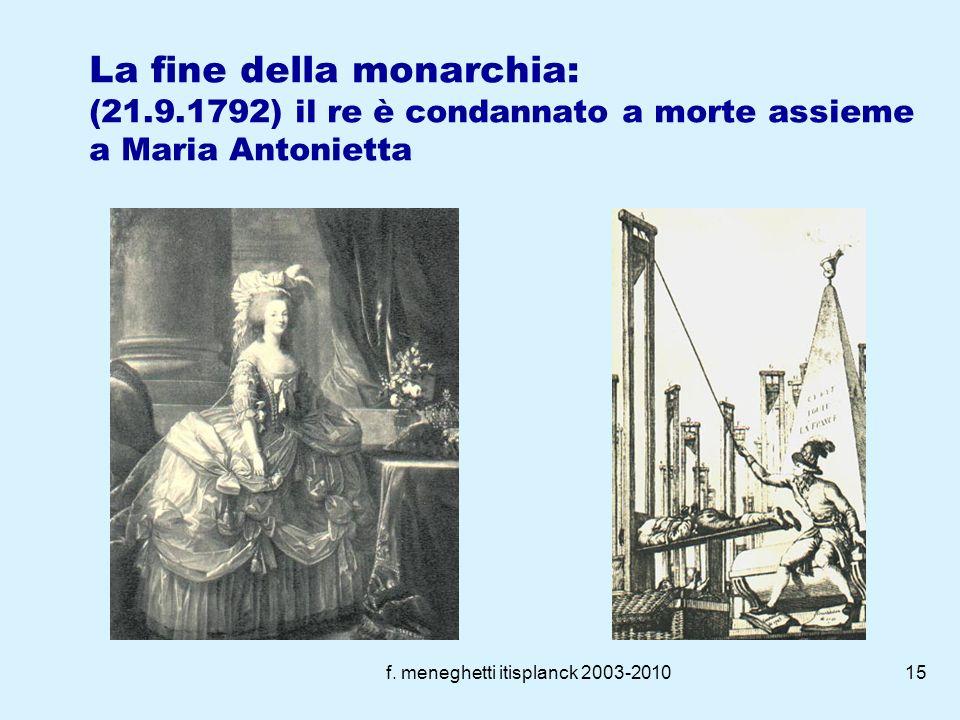 f. meneghetti itisplanck 2003-201014 La convenzione Abolita la monarchia Comitato di salute Pubblica Gli sforzi della convenzione si concentrano nel t