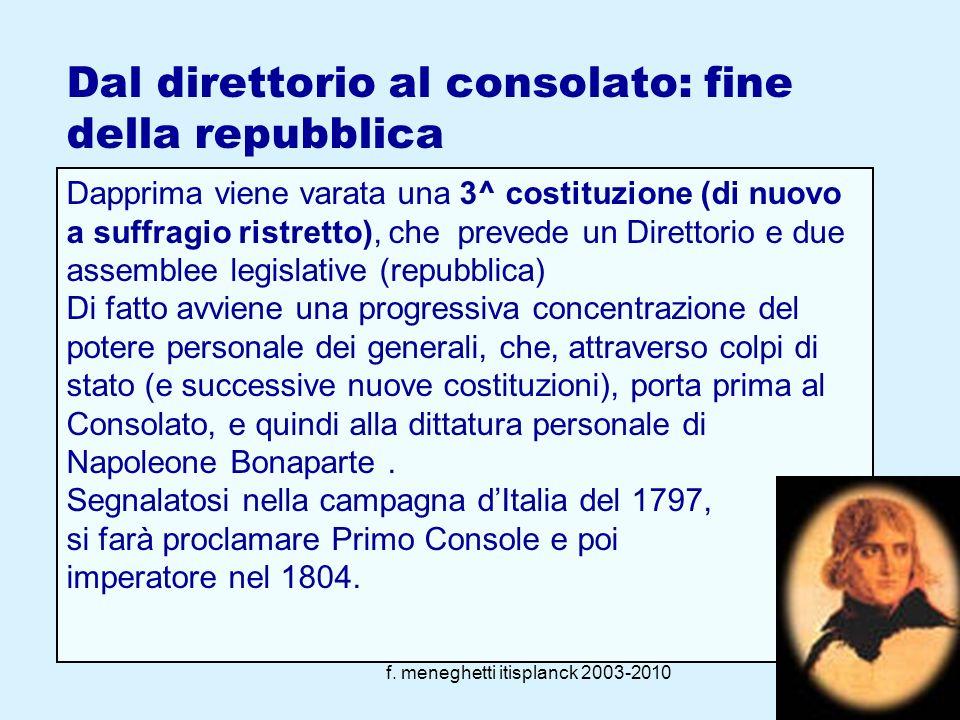f. meneghetti itisplanck 2003-201018 La reazione alto-borghese (1794-99) Non appena cessa lemergenza militare, Robespierre viene eliminato (reazione T