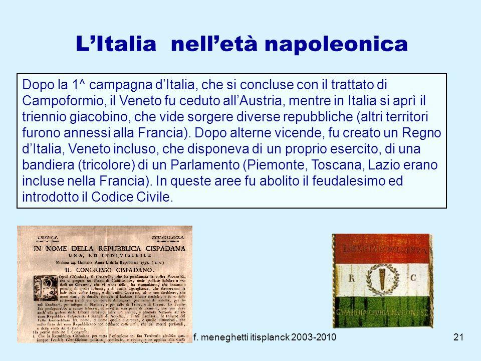 f. meneghetti itisplanck 2003-201020 Napoleone Bonaparte Imperatore Conserva la legislazione più innovativa della rivoluzione francese, specie sul pia