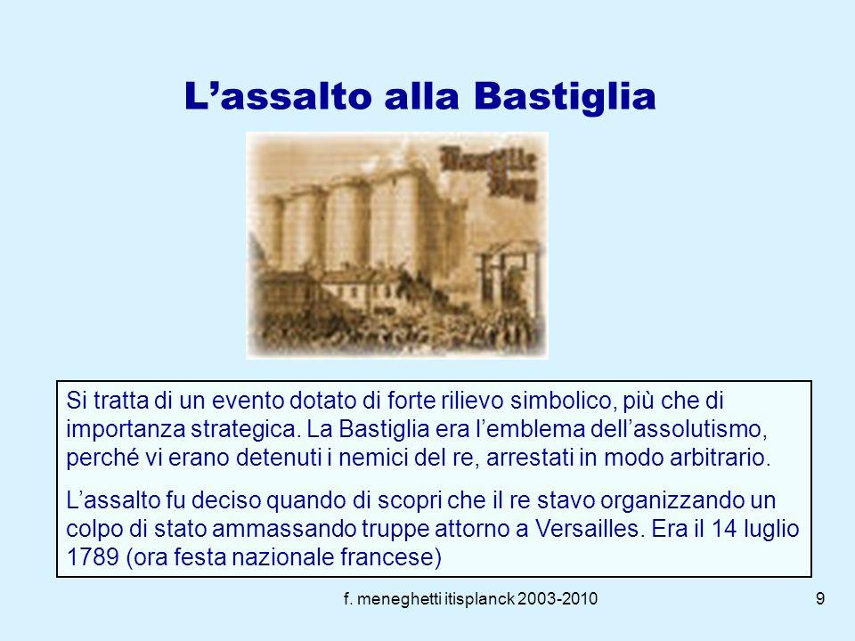 f. meneghetti itisplanck 2003-20108 La rivoluzione borghese (1789-1791) Convocazione Stati generali, (su iniziativa dei due ordini privilegiati) per s