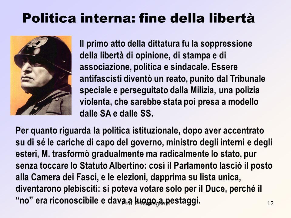 Prof. F. Meneghetti12 Politica interna: fine della libertà Il primo atto della dittatura fu la soppressione della libertà di opinione, di stampa e di