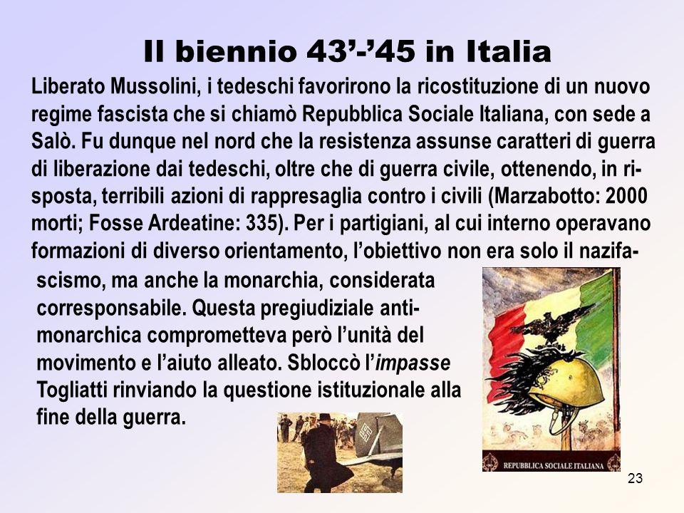 Prof. F. Meneghetti23 Il biennio 43-45 in Italia Liberato Mussolini, i tedeschi favorirono la ricostituzione di un nuovo regime fascista che si chiamò