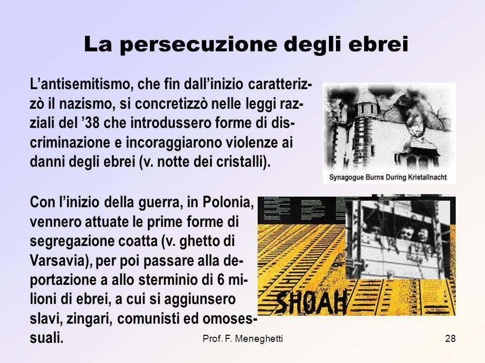 Prof. F. Meneghetti28 La persecuzione degli ebrei Lantisemitismo, che fin dallinizio caratteriz- zò il nazismo, si concretizzò nelle leggi raz- ziali