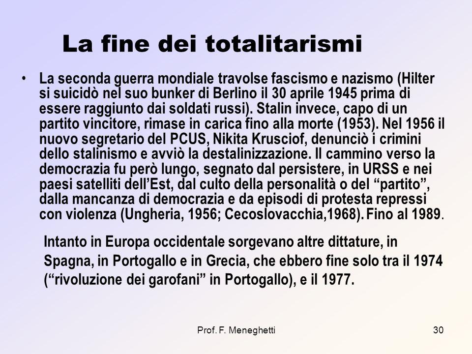 Prof. F. Meneghetti30 La fine dei totalitarismi La seconda guerra mondiale travolse fascismo e nazismo (Hilter si suicidò nel suo bunker di Berlino il