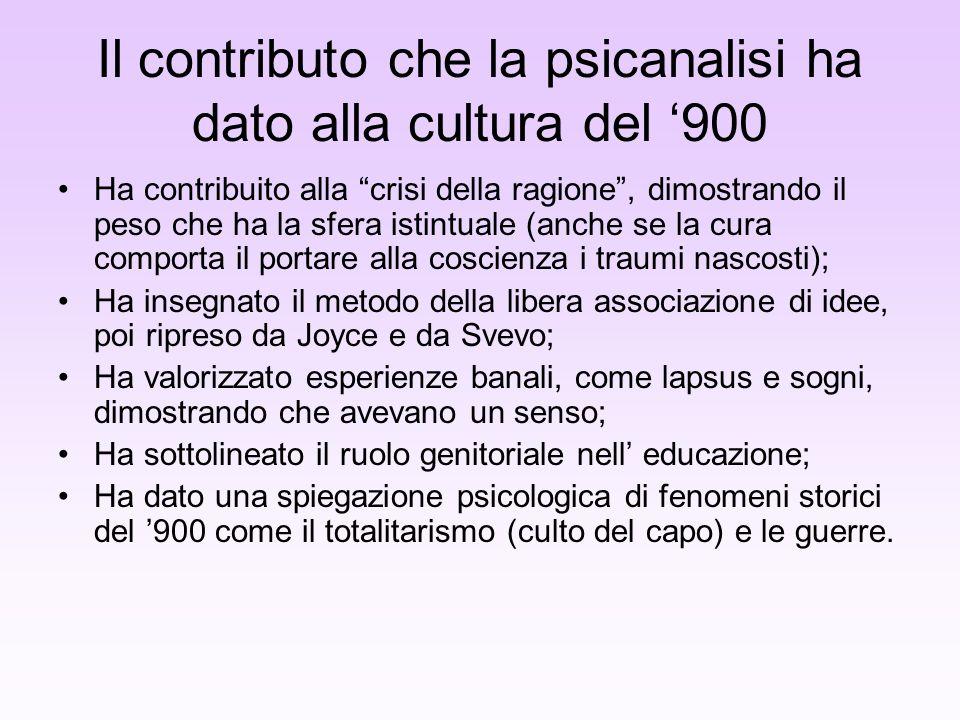Il contributo che la psicanalisi ha dato alla cultura del 900 Ha contribuito alla crisi della ragione, dimostrando il peso che ha la sfera istintuale