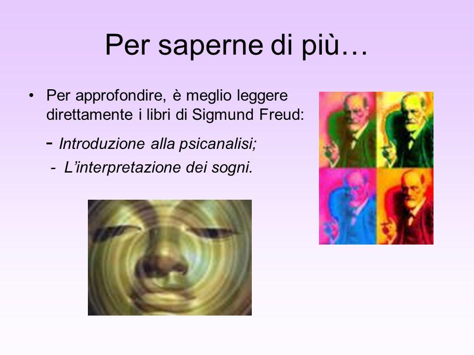 Per saperne di più… Per approfondire, è meglio leggere direttamente i libri di Sigmund Freud: - Introduzione alla psicanalisi; - Linterpretazione dei