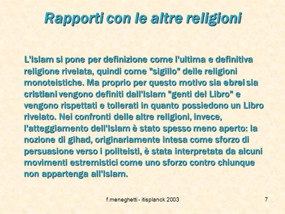 f.meneghetti - itisplanck 20036 I precetti dellIslam 1.La professione di fede: