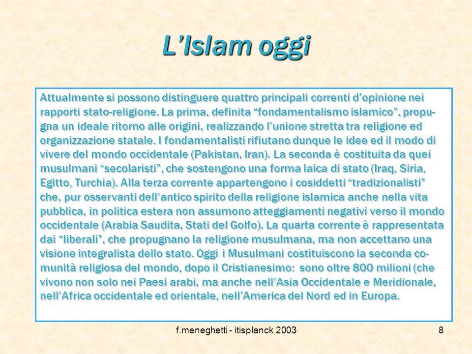 f.meneghetti - itisplanck 20037 Rapporti con le altre religioni L'Islam si pone per definizione come l'ultima e definitiva religione rivelata, quindi