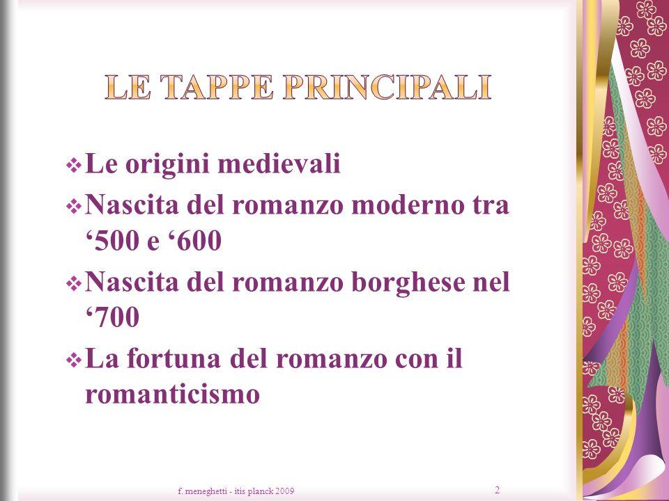 Le origini medievali Nascita del romanzo moderno tra 500 e 600 Nascita del romanzo borghese nel 700 La fortuna del romanzo con il romanticismo f. mene