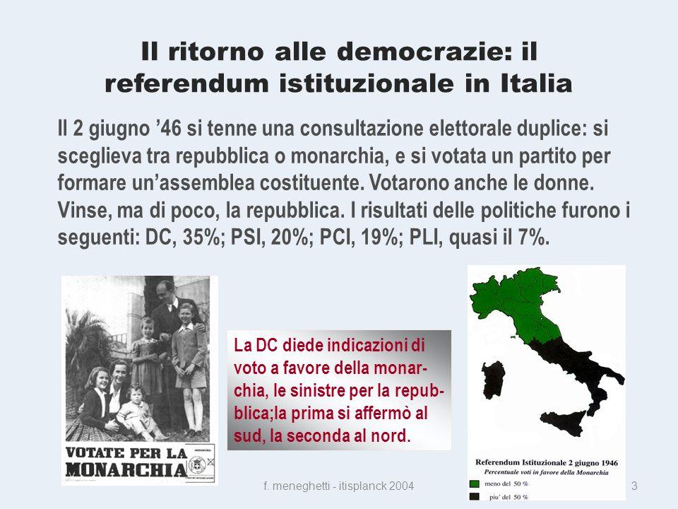 Il ritorno alle democrazie: il referendum istituzionale in Italia f.