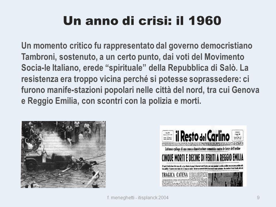 Un anno di crisi: il 1960 f.