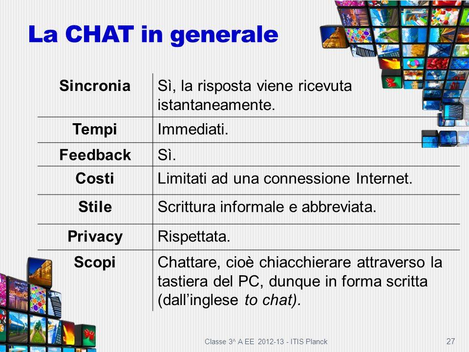 Classe 3^ A EE 2012-13 - ITIS Planck 27 La CHAT in generale SincroniaSì, la risposta viene ricevuta istantaneamente. TempiImmediati. FeedbackSì. Costi