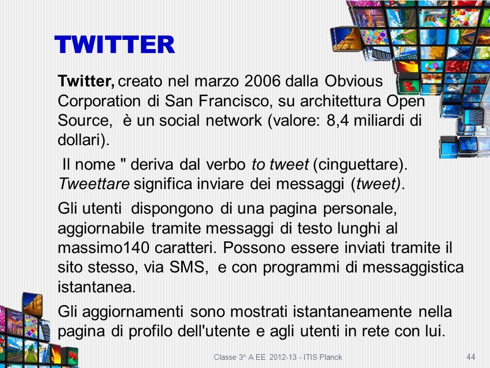 Classe 3^ A EE 2012-13 - ITIS Planck 44 TWITTER Twitter, creato nel marzo 2006 dalla Obvious Corporation di San Francisco, su architettura Open Source